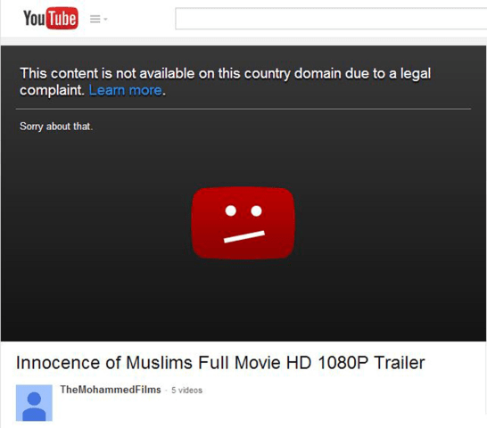 Image: Innocence of Muslims page on YouTube