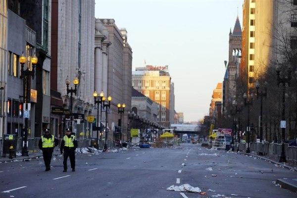 IMAGE: Police patrol Boston Marathon bombing scene