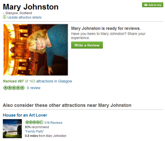 Image: Mary Johnston's page on Trip Advisor