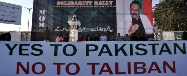 Image: Anti-Taliban protest in Karachi, Pakistan, on Feb. 23