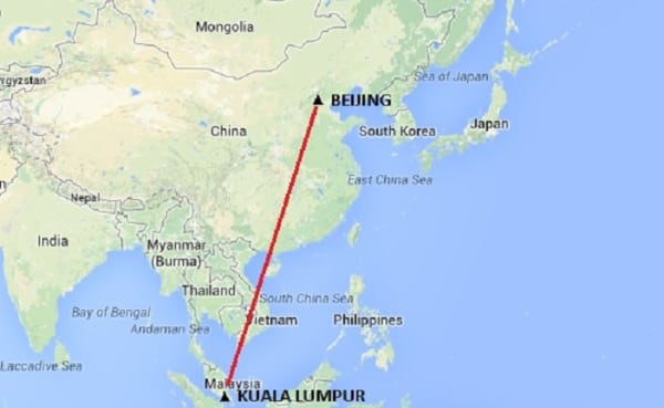 IMAGE: Map of airliner's route