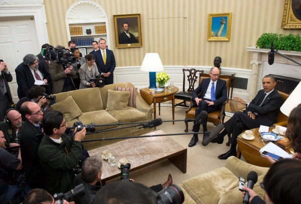 Image: President Barack Obama meets with Ukrainian Prime Minister Arseniy Yatsenyuk.