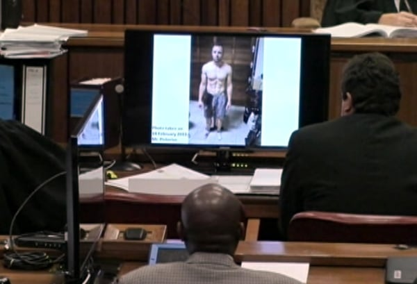 A photo of Oscar Pistorius taken after Reeva Steenkamp's death on Feb. 14, 2013 was shown to the court at his murder trial Friday, March 14, 2014.