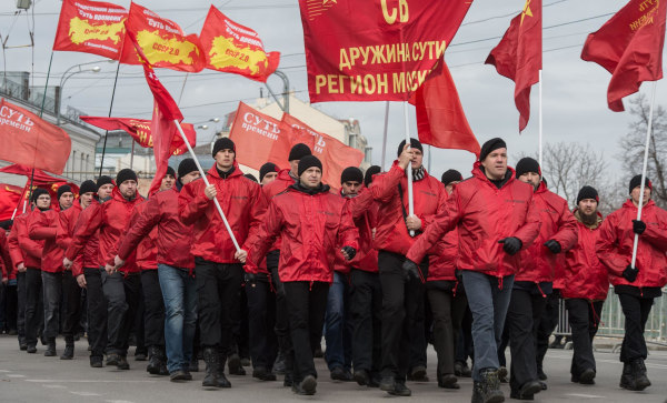 Image: Pro-Kremlin activists march in Moscow