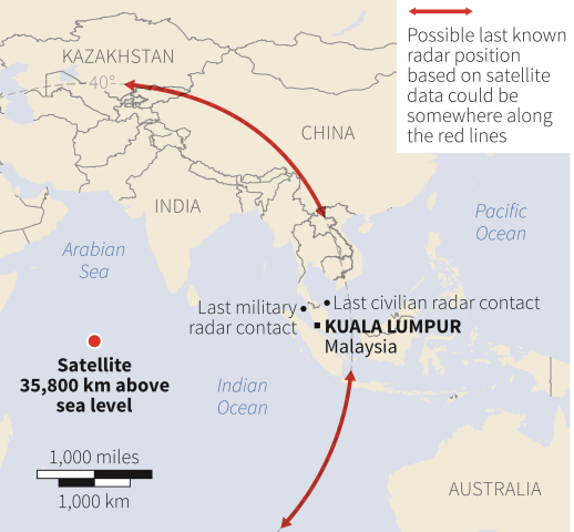 Image: Possible last known position of missing plane based on satellite data.