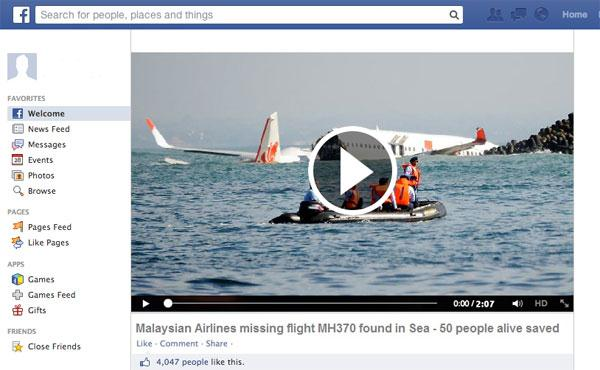 Image: Fake Facebook page about Malaysia Airlines Flight MH370