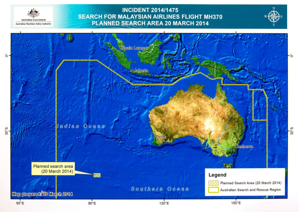 Image: A diagram showing the search area for Malaysia Airlines Flight MH370 in the southern Indian Ocean is seen during a briefing at AMSA in Canberra