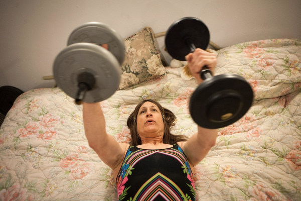 Image: Karen Scot works out before her first day teaching as a woman