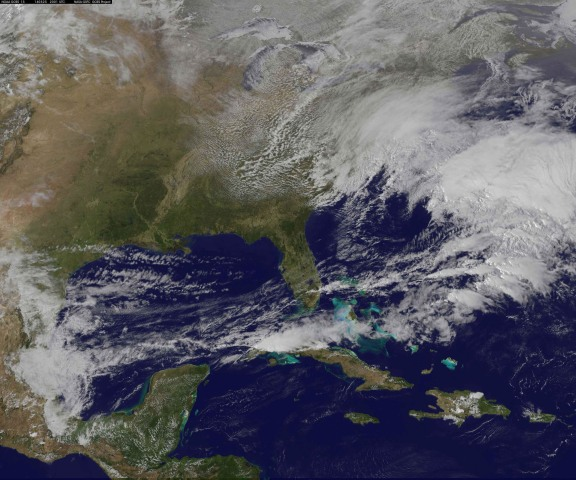 Image: Storm develops on the east coast of the United States in this handout image from NASA's GOES Project Science