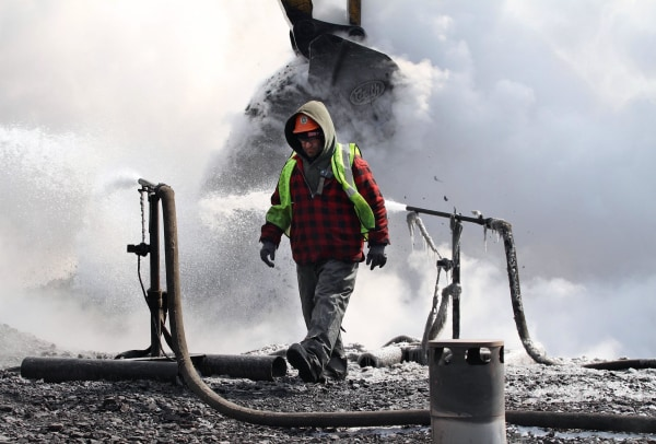 Image: Crew continues its effort to extinguish the underground culm dump fire in Lackawanna County, Pa.