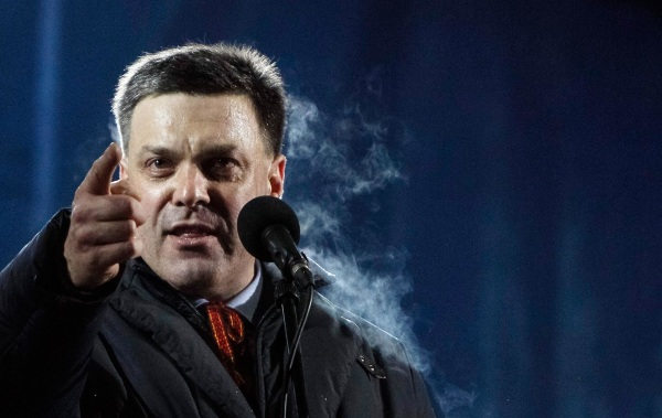Image: Head of the All-Ukrainian Union Svoboda Party Tyagnibok attends a pro-European integration rally in Independence square in Kiev