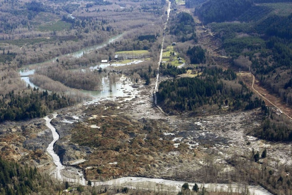 Image: Highway 530 disappears into a massive mudslide that destroyed Oso, Washington