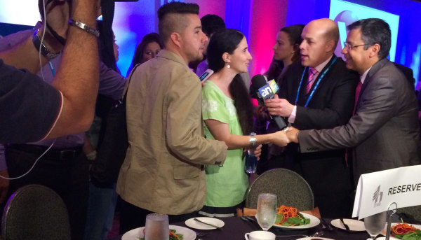 Image: Yoani Sanchez speaks to the media at the Hispanicize 2014 event