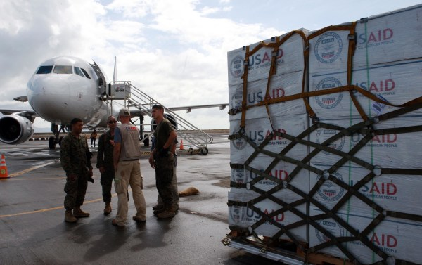 Image: Food aid from USAID arrives at the airport following the super typhoon in the Philippines