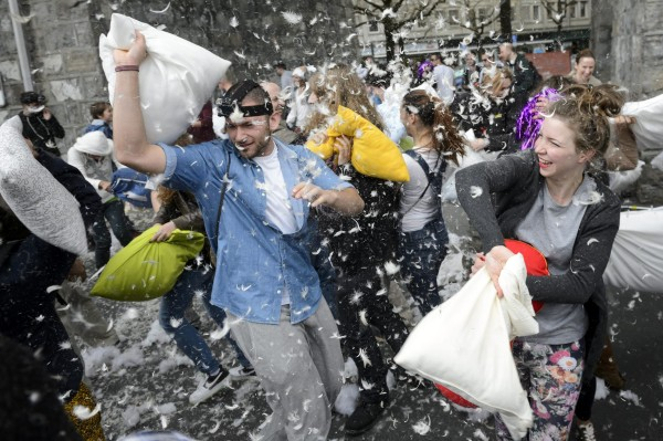 Image: Pillow fight in Lausanne