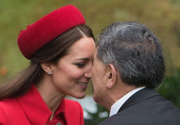 "Image: The Duchess of Cambridge receives a ""hongi,"" a traditional Maori greeting"