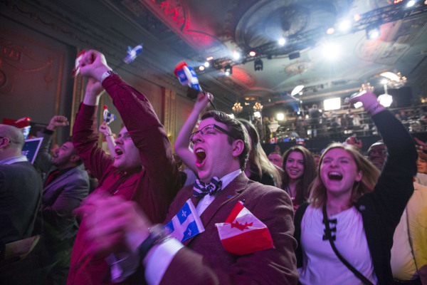 Image: Parti Liberal Québécois supporters celebrate victory in Montreal.