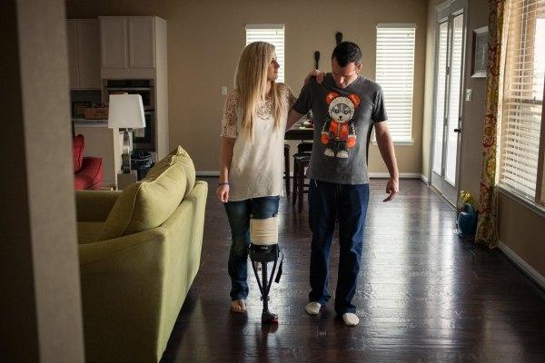 Image: Pete and Rebekah practice walking