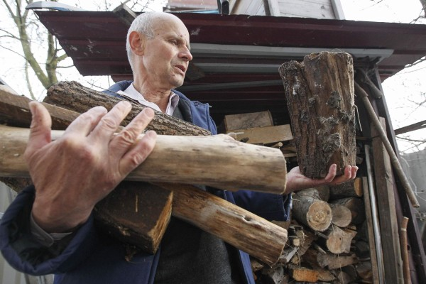 Image: Shevchenko carries firewood to his house in the village of Zazimye