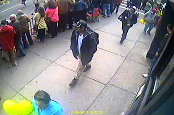 Image: An FBI video image of the two Boston Marathon bombing suspects