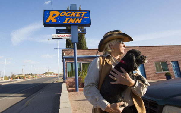 "Image: Val Wilkes, co-owner of the Rocket Inn in ""T or C"" as the town is known locally."