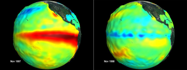 Image: Sea surface height and temperature anomalies in the Pacific Ocean