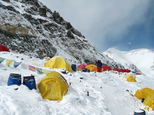 Image: An advance base camp for people climbing Mount Everest