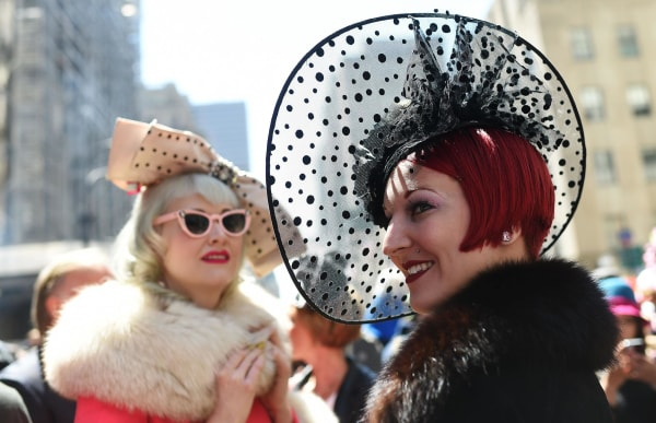 Image: Participants display their outfits during the annual Easter Parade on Fifth Avenue in New York