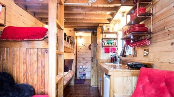 Image: The inside of one of the rooms at Caravan—The Tiny House Hotel.