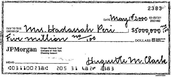 Image: Check for $5 million to Huguette Clark's nurse
