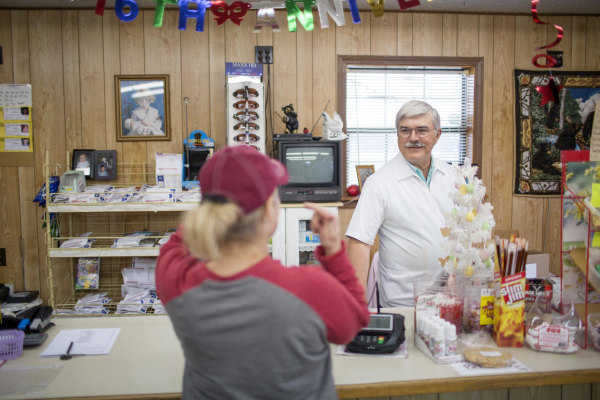 Image: Pharmacist Gary Linderman, 59, runs the remaining retail business in Picher