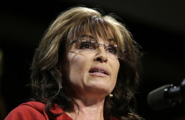 Image: Sarah Palin speaks on Sunday.
