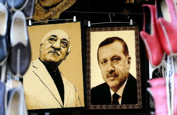 Image: Embroidered images of Fethullah Gulen and Recep Tayyip Erdogan at a market in Gaziantep, Turkey