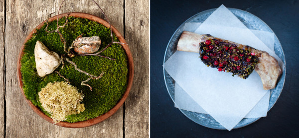 Two of the dishes served at Noma in Copenhagen, ranked number one on a list of the world's 50 best restaurants.