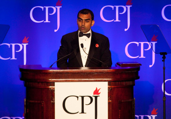 Image: Pakistani journalist Umar Cheema accepts the 2011 International Press Freedom award