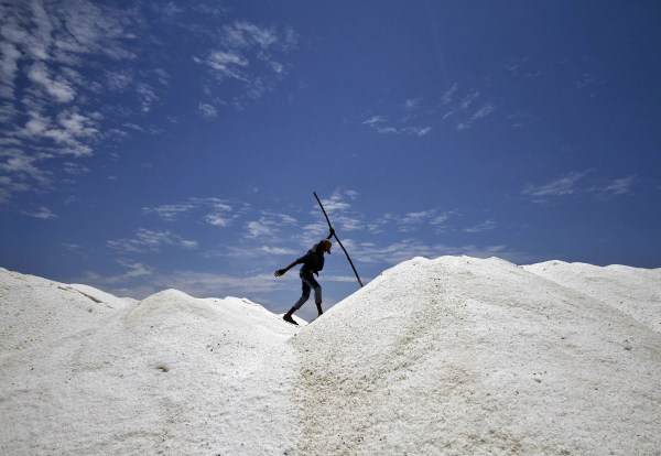 Image: A worker walks through a salt pan on the outskirts of Chennai