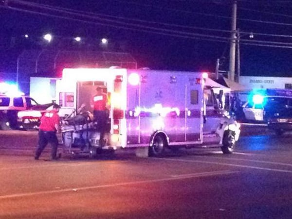 Image: A victim of an apparent explosion at the Escambia County Jail in Pensacola, Florida, is loaded into an ambulance