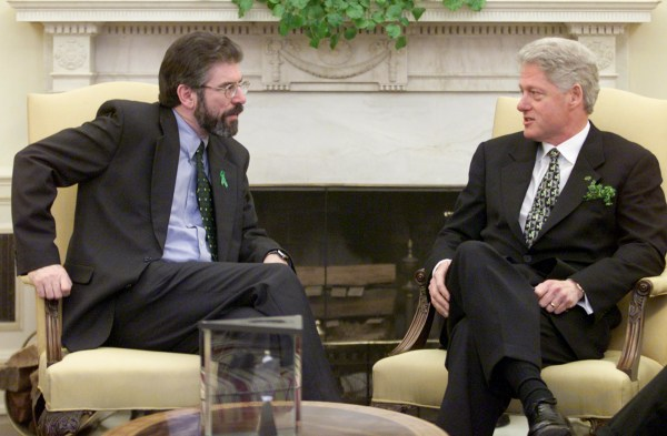 President Bill Clinton sits next to Sinn Fein leader Gerry Adams in the Oval Office