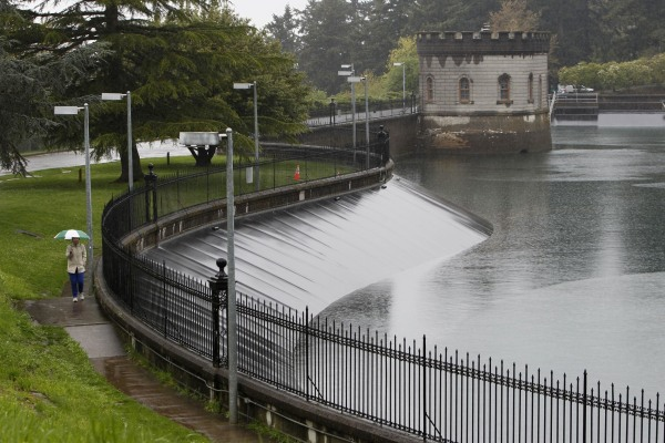 Image: Mount Tabor Reservoir Number 5 is seen in Portland, Oregon
