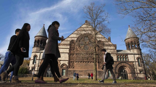 Image: People walk around the Princeton University campus in New Jersey