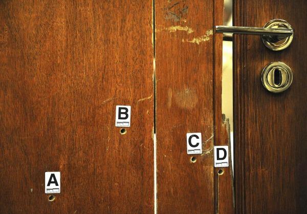 Image: The door through which Reeva Steenkamp was shot is displayed during Oscar Pistorius's murder trial  in Pretoria