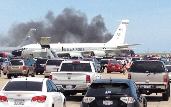 Image: Smoke billows after a plane crashed at a Travis Air Force Base air show in Fairfield, Calif., May 4, 2014.