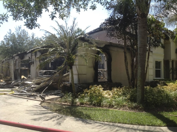 Image: Handout photo of a house owned by former tennis pro James Blake, after a fire in Tampa, Florida