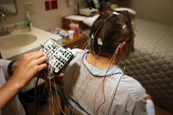 A participant in a sleep study at UW Hospital and Clinics in Madison, Wisconsin.