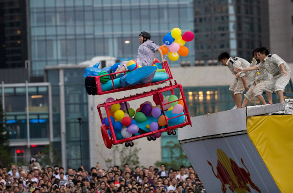 Image: A contestant takes part in the Red Bull Flugtag Hong Kong 2014