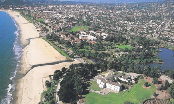 Image: aerial view of Bellosguardo, the Clark estate in Santa Barbara