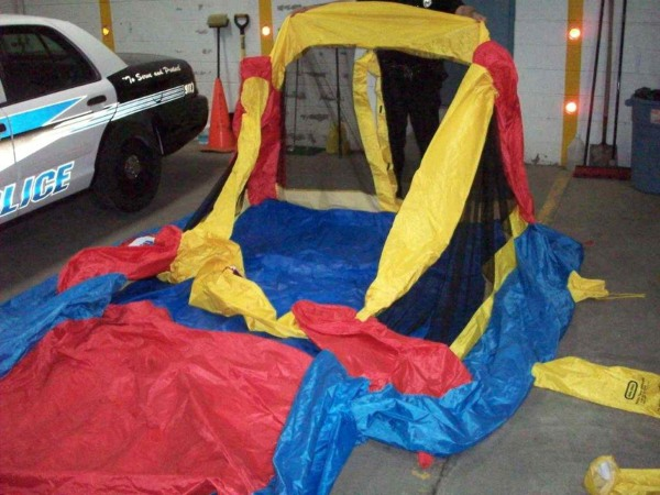 Image: The deflated bounce house that was wind-swept into the air while three children played inside in upstate New York