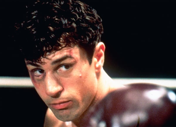"Image: This 1980 file photo showing Robert De Niro as Jake La Motta in a boxing scene from Martin Scorsese's film ""Raging Bull."""