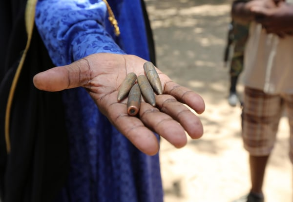 Image: A village chief in northern Cameroon showed NBC News bullets from a high-velocity rifle, which he says were found inside a nearby home.