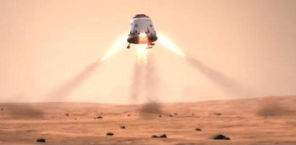 Image: Simulated Dragon space capsule landing on Mars